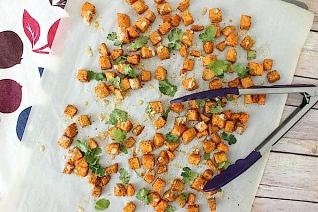 Sesame Cilantro Tahini Sweet Potatoes overhead
