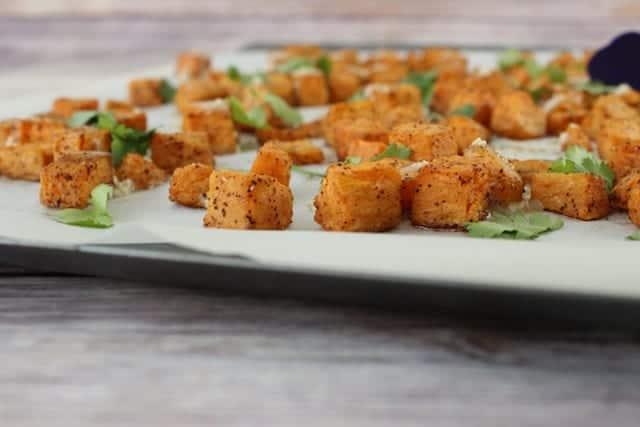 Sesame Cilantro Tahini Sweet Potatoes