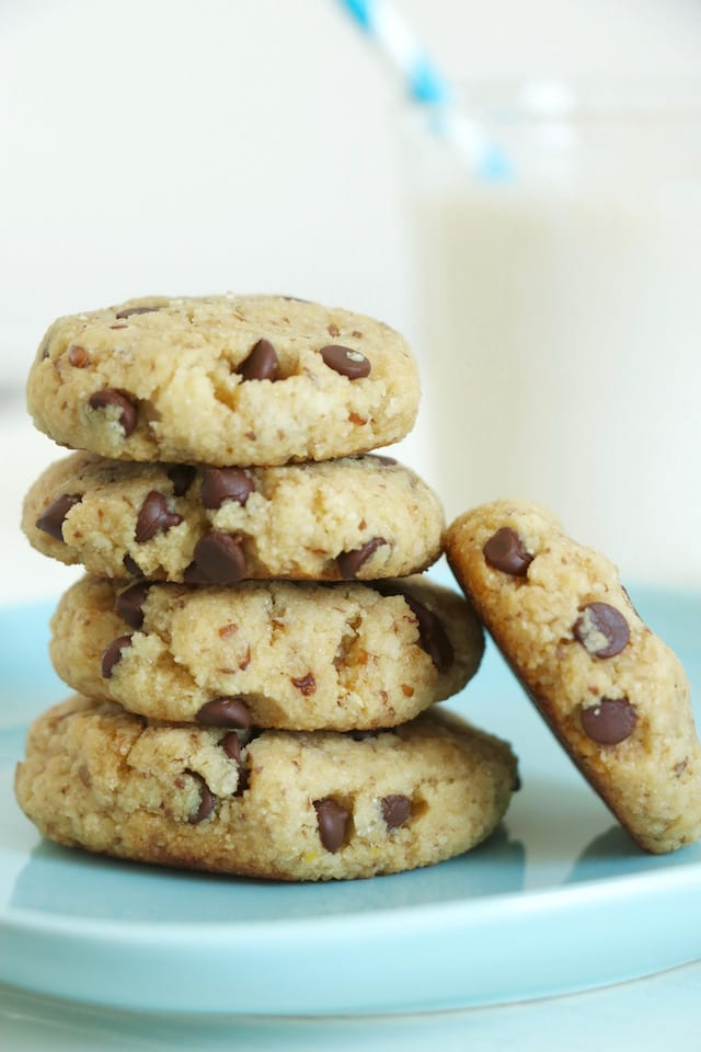 Soft,Baked Chocolate Chunk Almond Flour Cookies