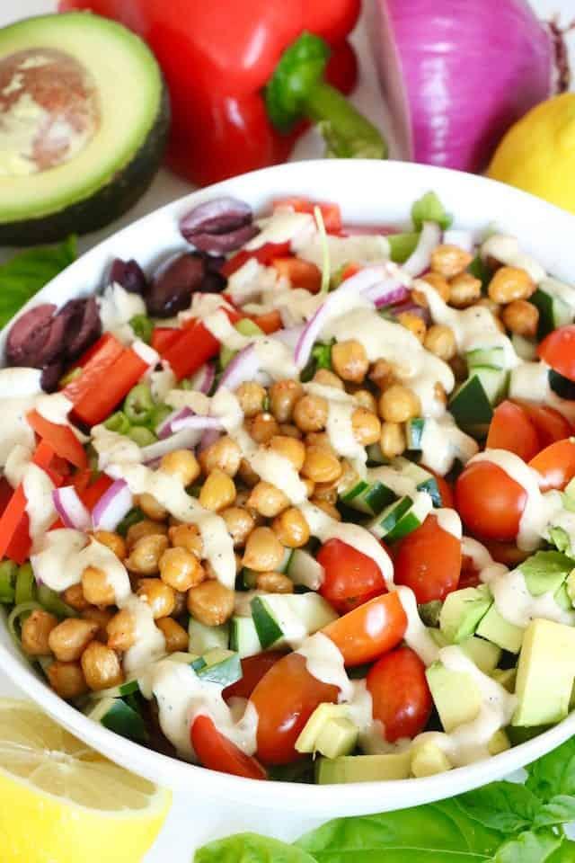 Vegan Greek Salad with Sauteed Chickpeas