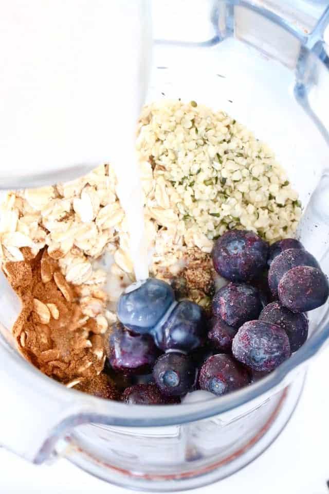 Blueberry Muffin Smoothie Ingredients in Blender