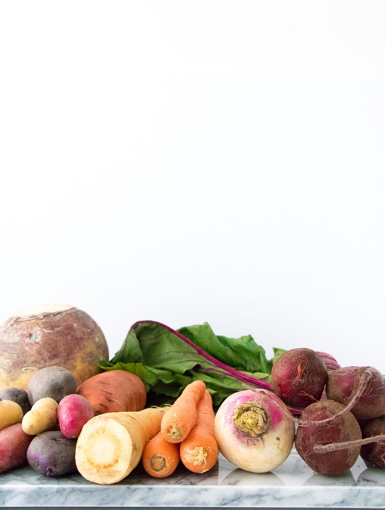 raw ingredients for the roasted root vegetables dish