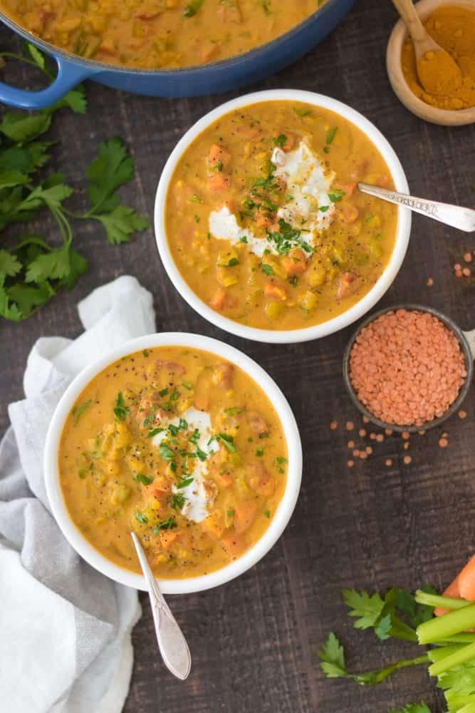 lentil vegetable soup garnished and ready to serve