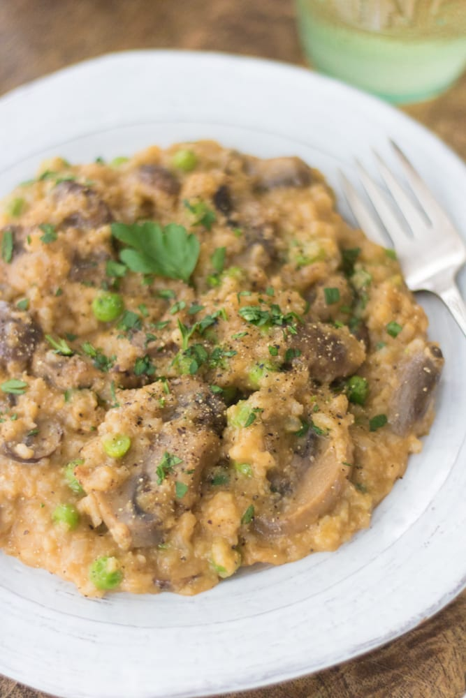 close up image of the mushroom risotto with garnishes