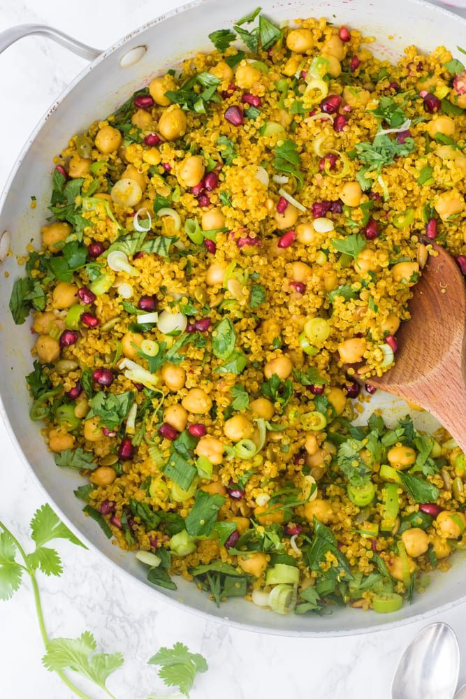 Quick Easy One Pot Curried Quinoa Chickpea