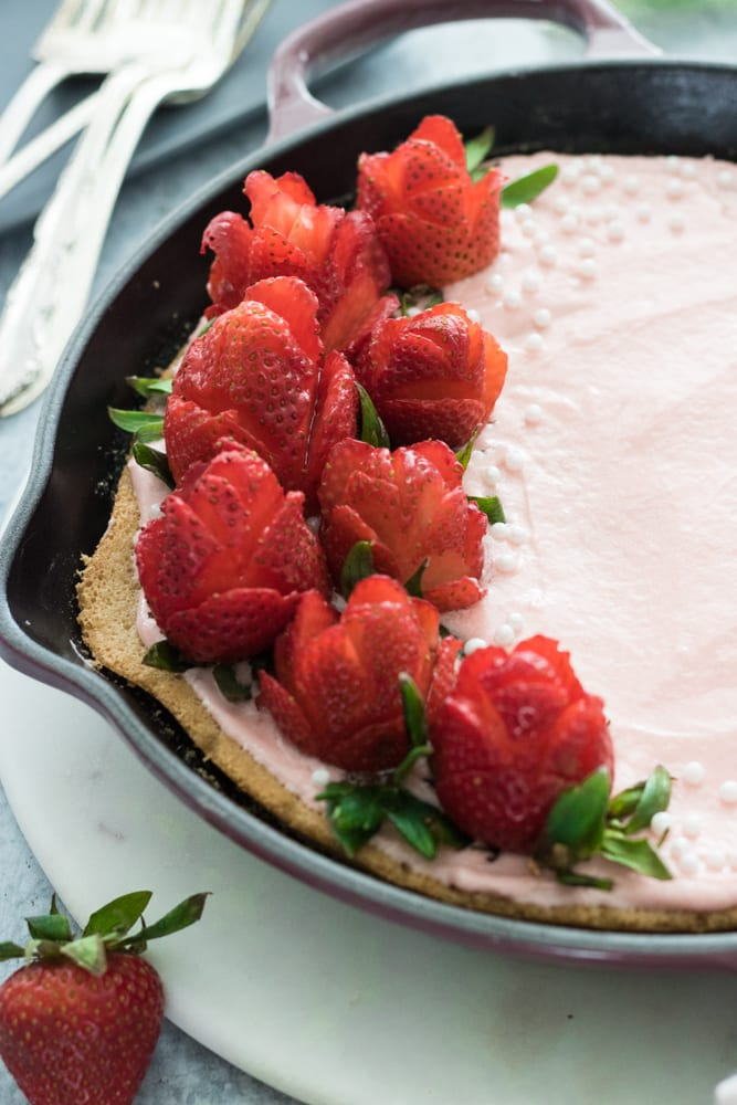 Strawberry Roses on Skillet Cake