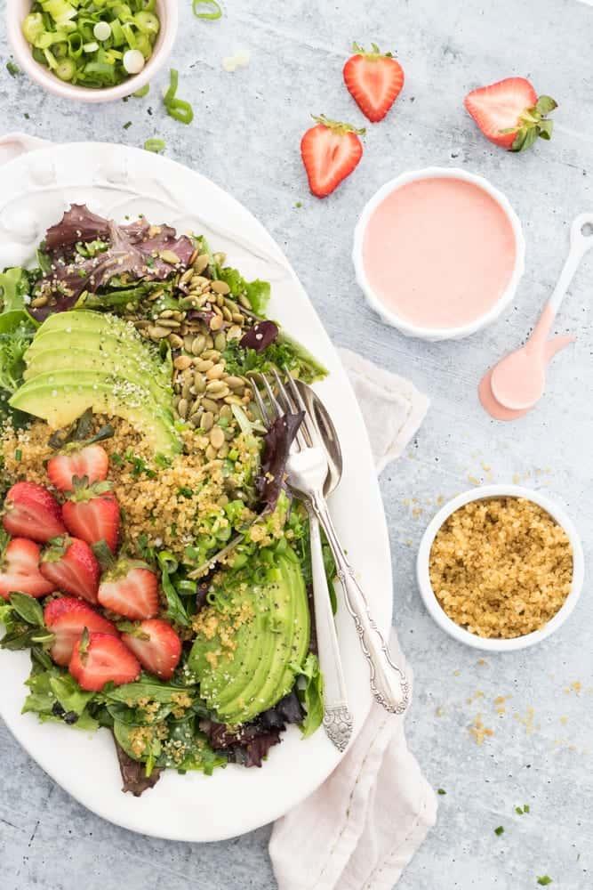 Crispy Quinoa Salad with Strawberries and Avocado