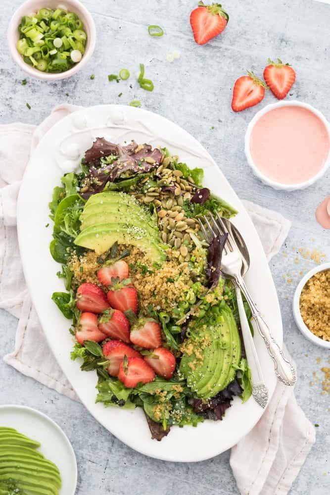 Crispy Quinoa Strawberry Avocado Salad