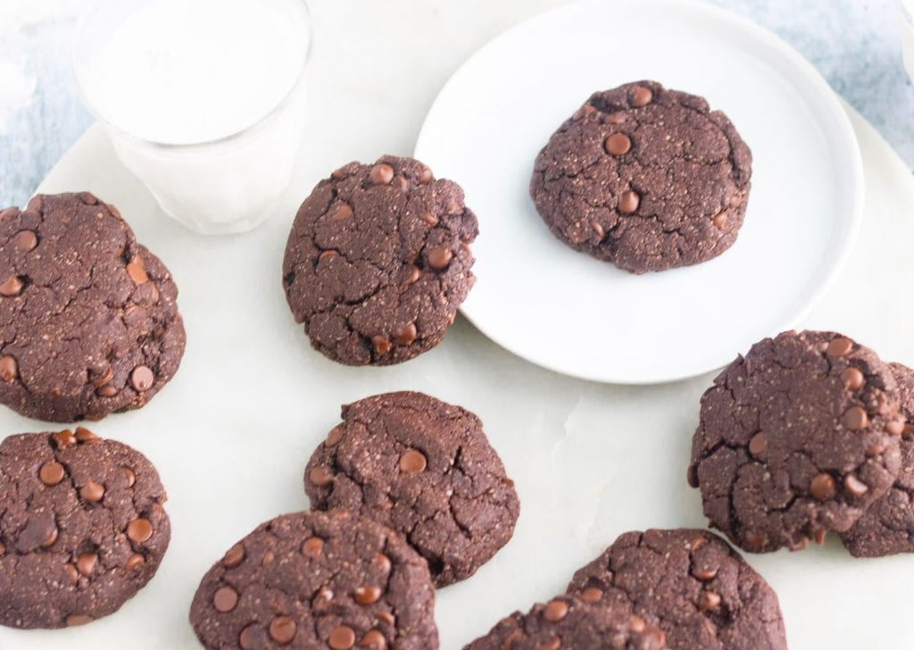 Fudgy Vegan Gluten-Free Double Chocolate Chip Cookies