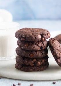 Fudgy Vegan Double Chocolate Chip Cookies