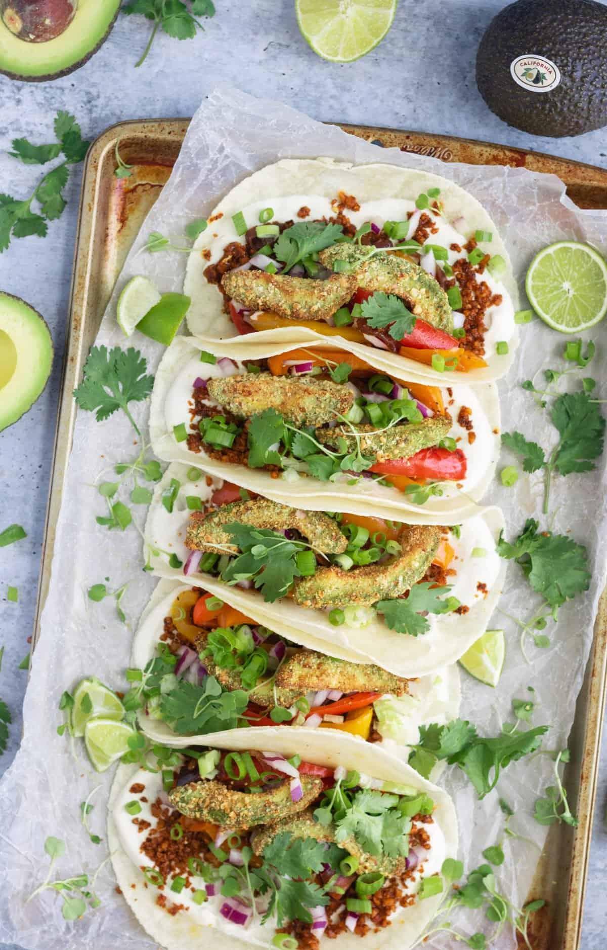 Gluten-Free Vegan Crispy Avocado Tacos