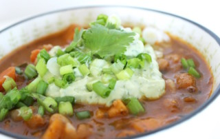 Vegetarian Chili with Avocado Cilantro Sour Cream