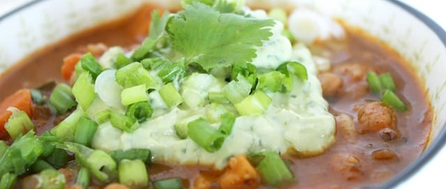 Vegetarian Chili with Avocado Cilantro Sour Cream