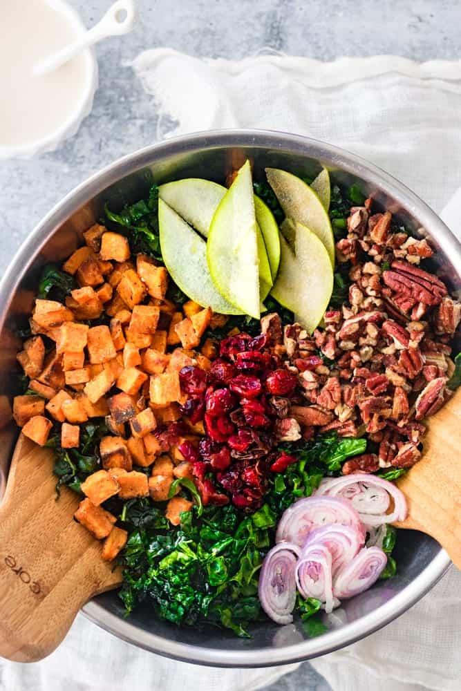 Thanksgiving Kale Salad Deconstructed
