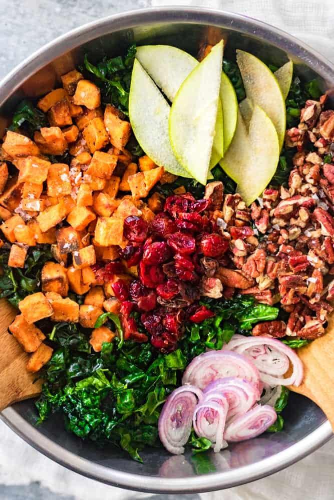 Thanksgiving Kale Salad Deconstructed Close Up