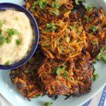 Vegan & Gluten-Free Sweet Potato, Zucchini & Potato Latkes (Baked)