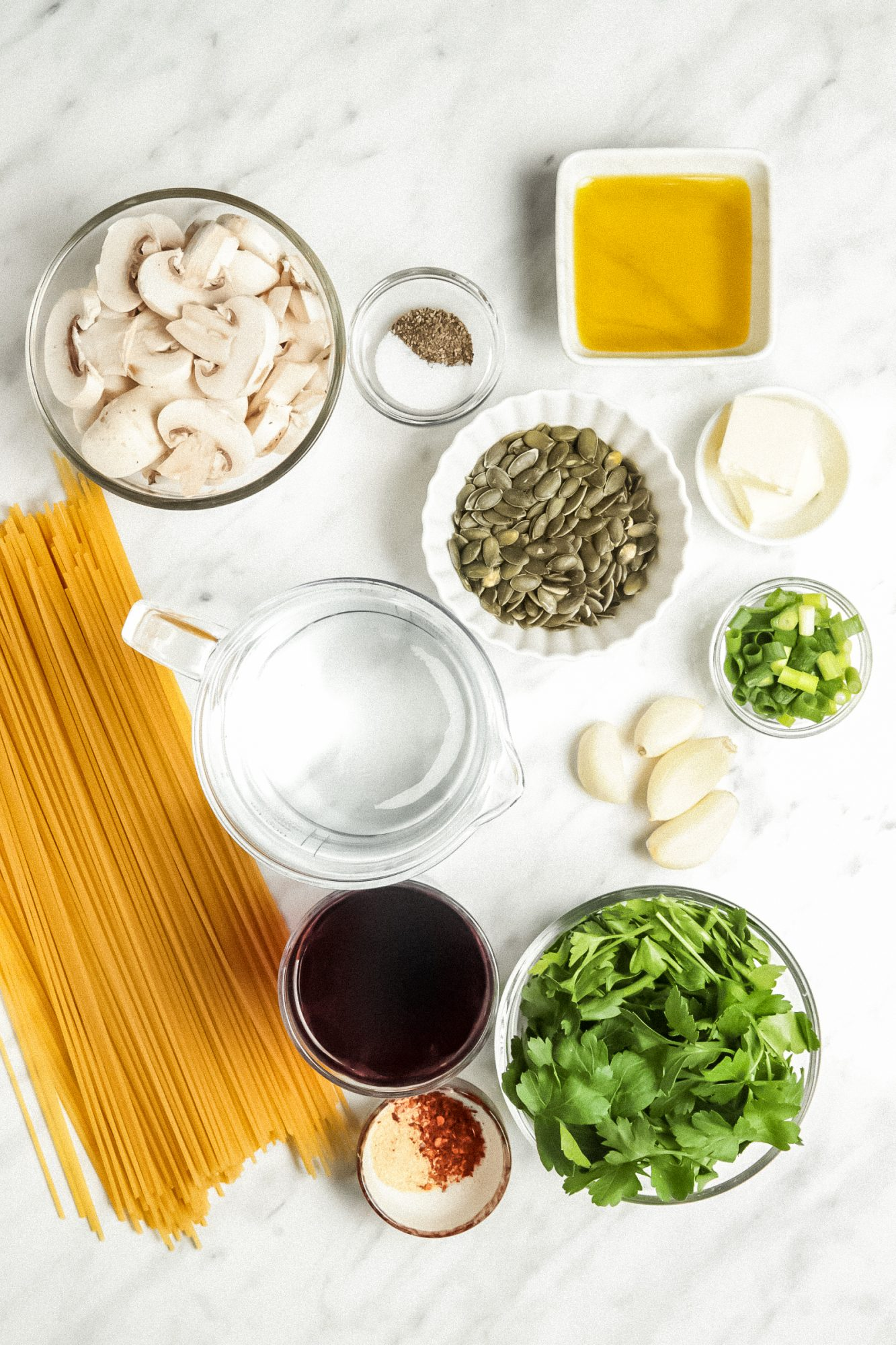 Ingredients for Red Wine Spaghetti