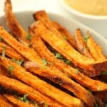 Easy Oven Baked Sweet Potato Fries with Agave-Mustard Dipping Sauce