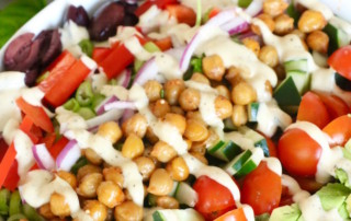 Vegan Greek Salad with Sauteed Chickpeas