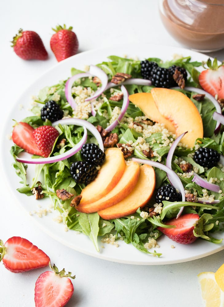 Simple Summer Salad with Strawberry Balsamic Vinaigrette Eating