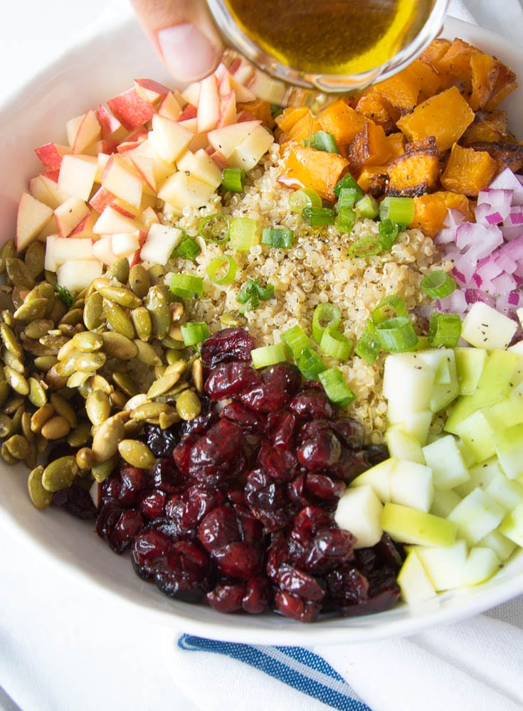 Fall Quinoa Buddha Bowl with Apple Cider Maple Dressing