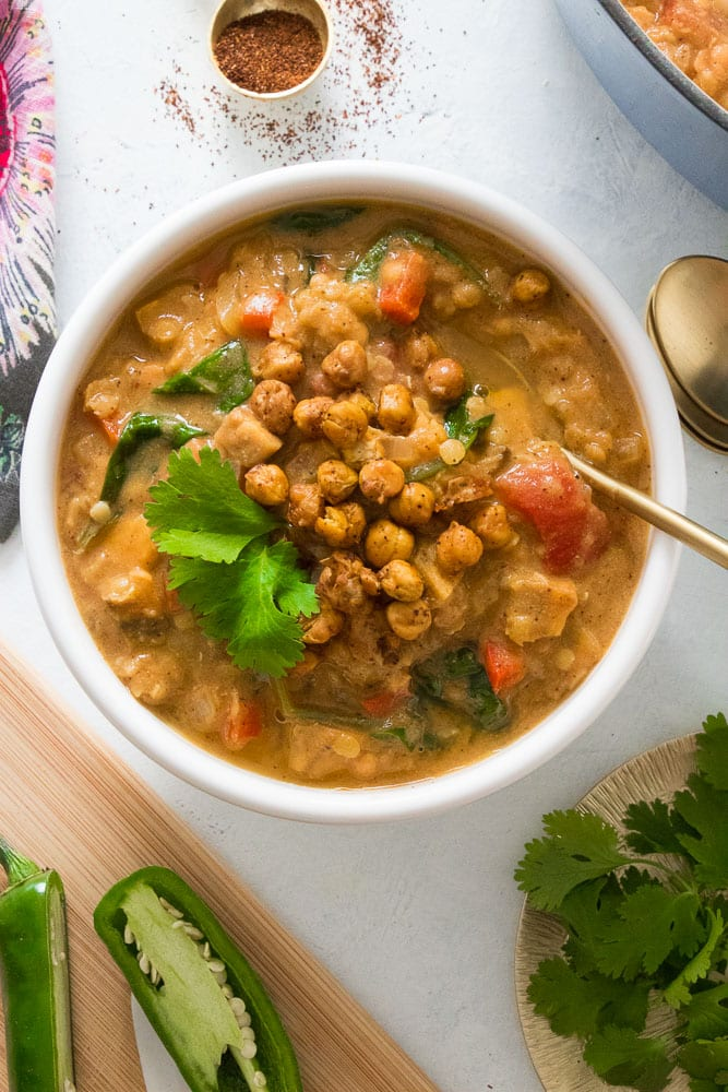 Spicy Red Lentil Veggie Stew with Crispy Chickpea Croutons | Eating by ...