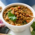 Spicy Red Lentil Veggie Stew with Crispy Chickpea Croutons