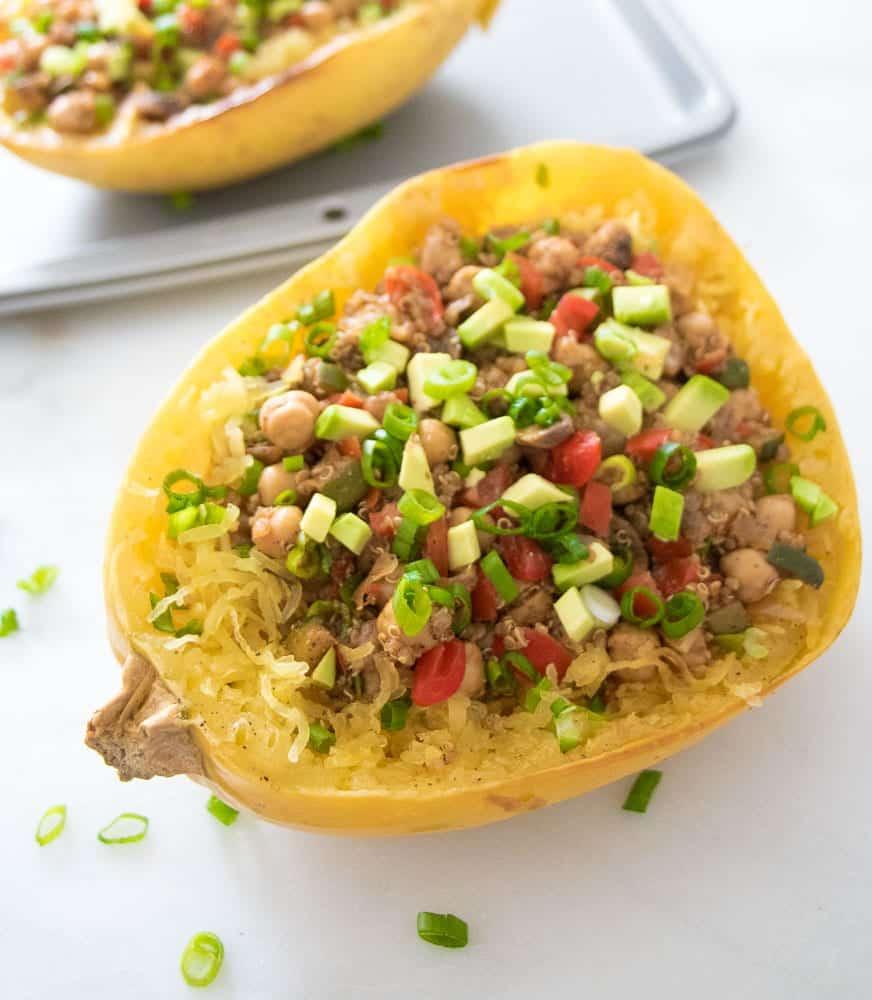 "Roasted Spaghetti Squash Boats with Quinoa, Chickpea & Veggie ""Taco ..."