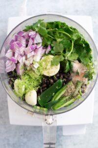 Ingredients in Food Processor for Black Bean Dip