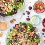Berry-Cherry Quinoa Salad with Candied Walnuts and Balsamic-Shallot Vinaigrette