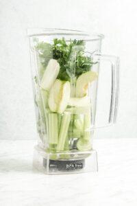 Blender Green Juice with Ingredients before Blended