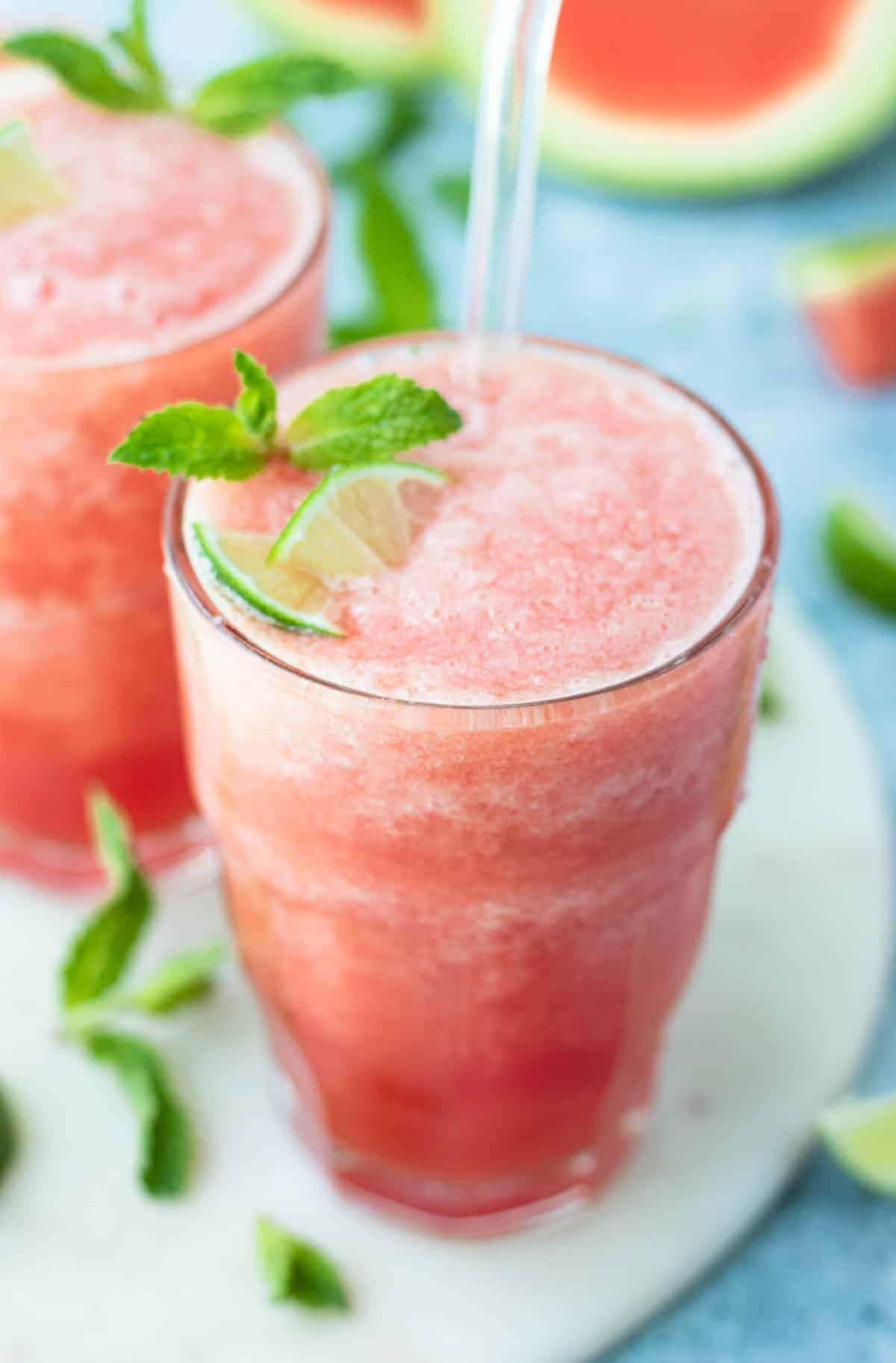 Watermelon Mint Lime Slushie Recipe