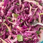 Creamy Spiralized Red Cabbage and Green Apple Slaw with Cilantro and Lime