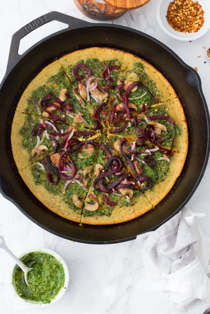 Chickpea Flour Pizza with Pesto and Roasted Beet Noodles