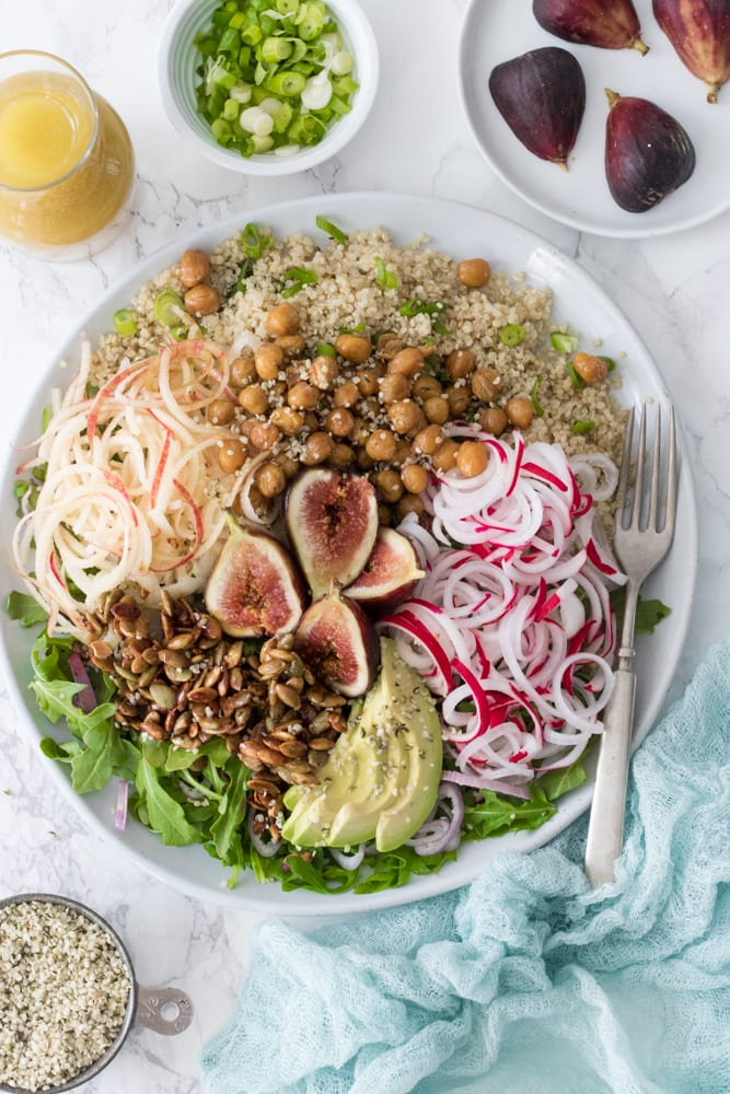 Plant Powered Fall Quinoa and Arugula Salad with Apples and Figs