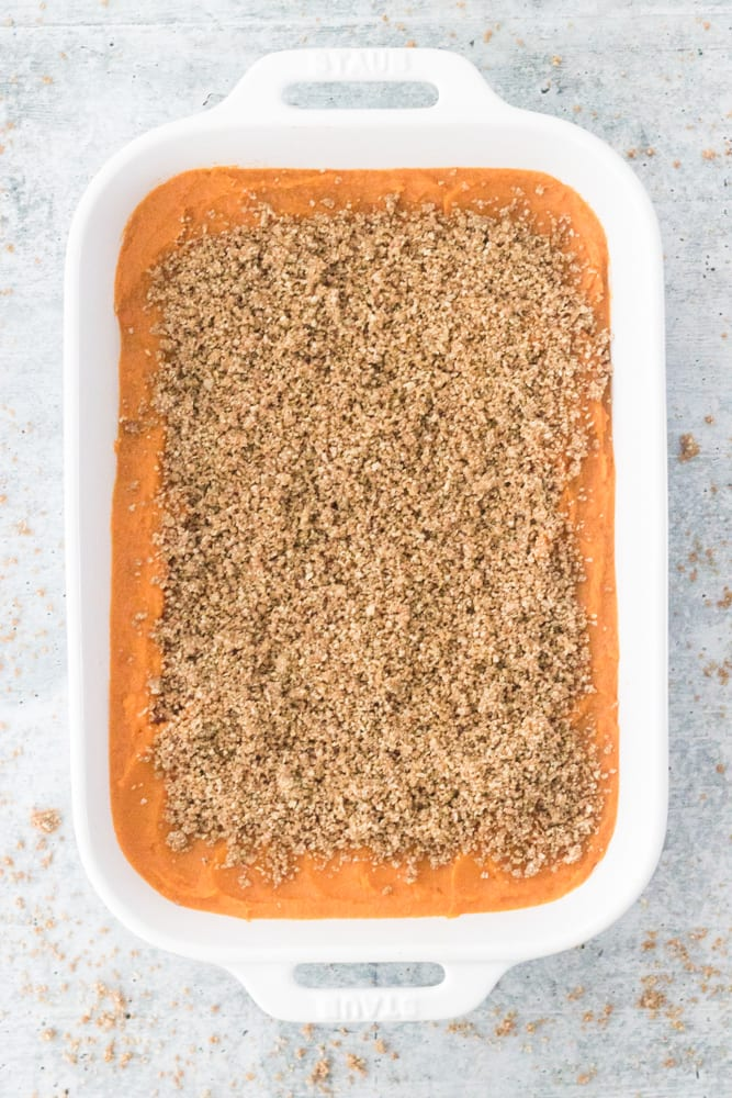 Vegan Gluten-Free Sweet potato Casserole with Crumble Topping