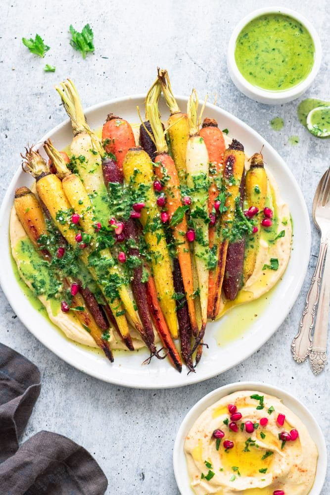 Whole Roasted Rainbow Carrots