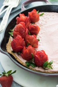 Strawberry Roses on Skillet Cake
