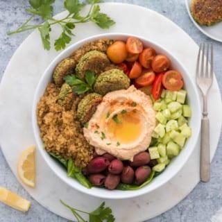 Crispy Quinoa Falafel Bowls
