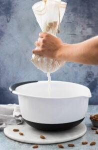 Straining Almond Milk Through a Nut Milk Bag