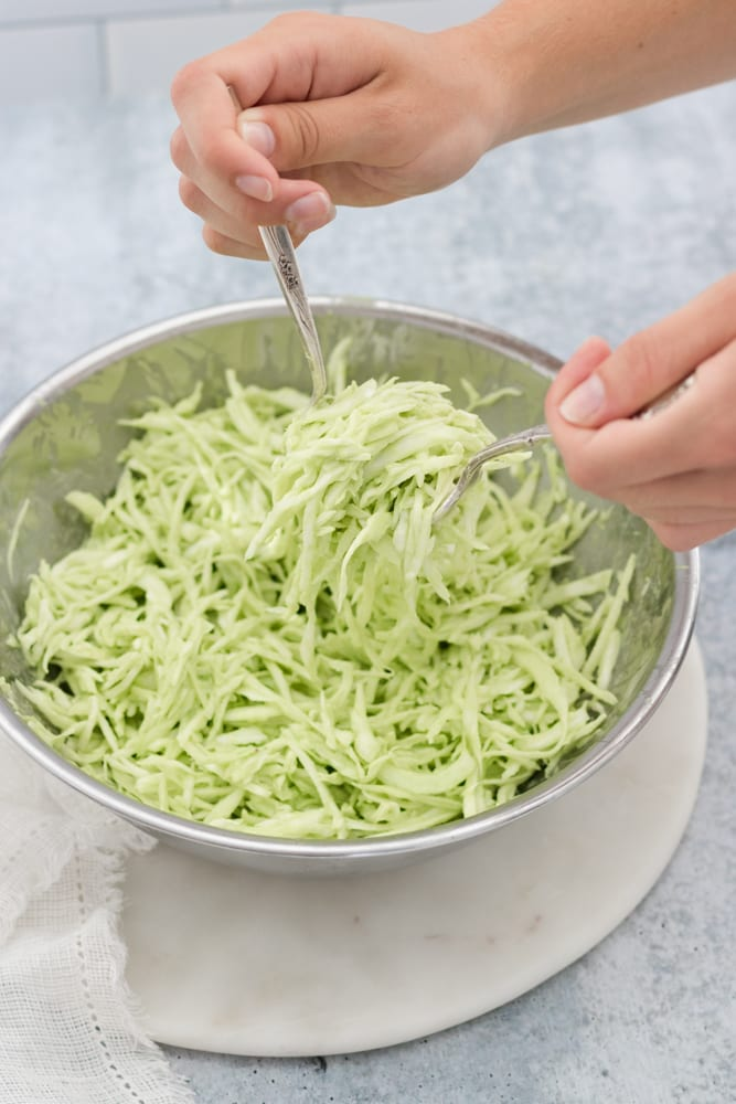 spiralized cabbage with garlic cilantro lime sauce