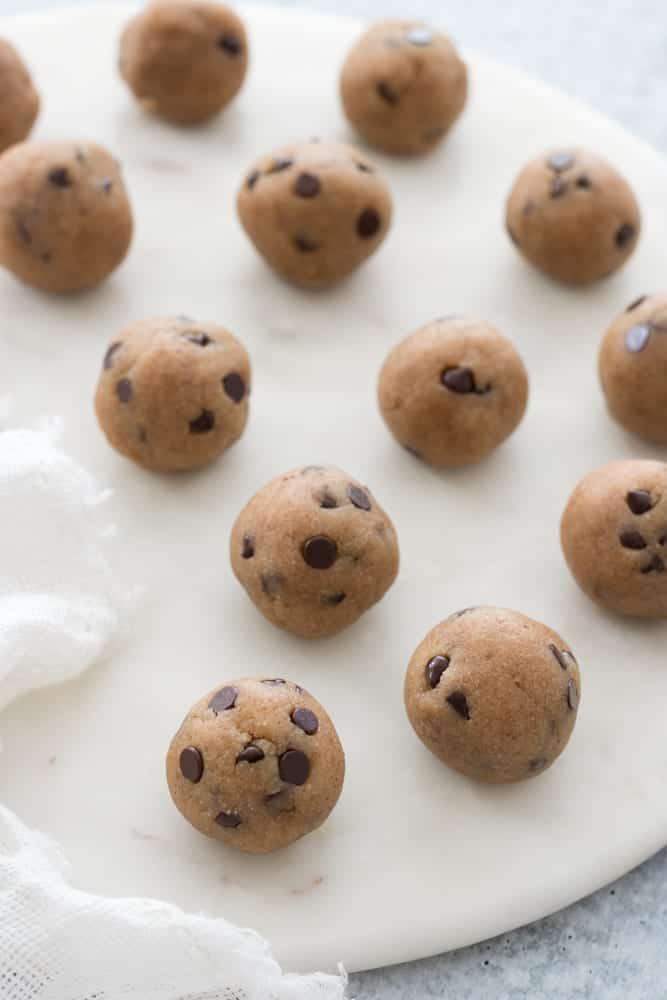 Vegan and grain-free cookie dough energy bites