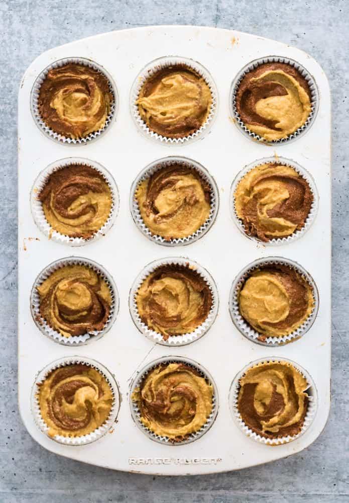 Pumpkin Chocolate Swirl Muffins Uncooked Before Baking