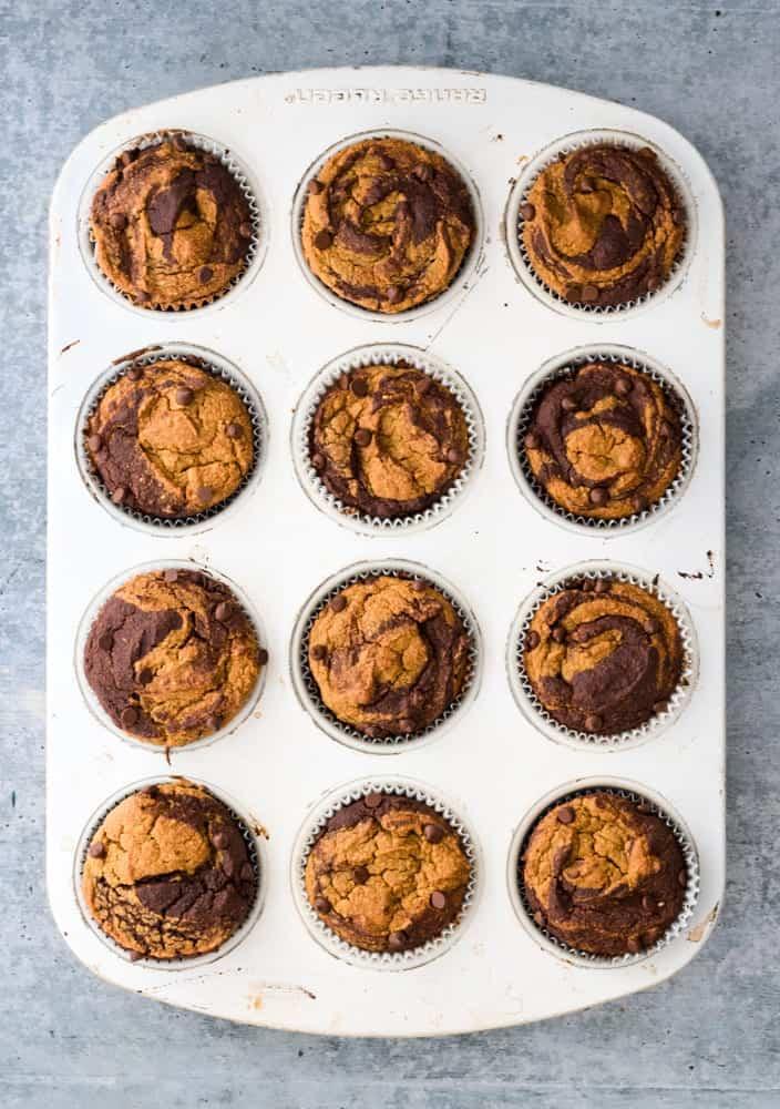 Pumpkin Chocolate Swirl Muffins Baked