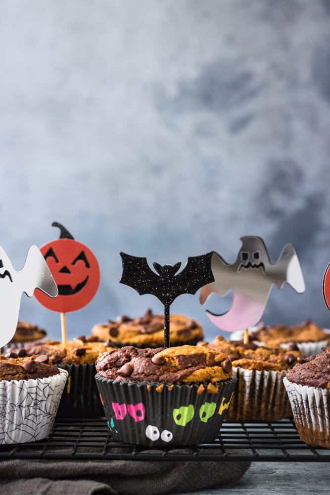 Vegan and Gluten-Free Pumpkin Chocolate Swirl Muffins