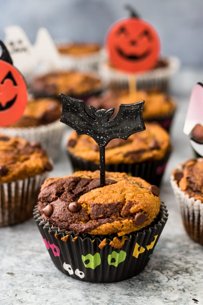 Vegan and Gluten-Free Pumpkin Chocolate Swirl Muffins - close up
