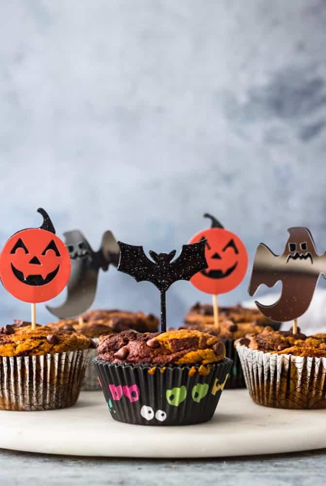 Vegan and Gluten-Free Pumpkin Chocolate Swirl Muffins - halloween