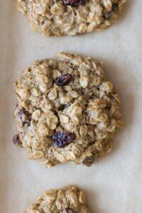 Oatmeal Raisin Cookies on Baking Sheet Close UP