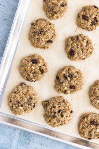Oatmeal Raisin Cookies on Baking Sheet