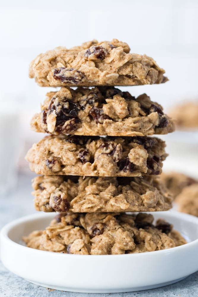 Stacked Oatmeal Raisin Cookies